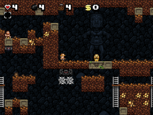 This game has a metric ton to talk about. Let's see, in this screenshot alone I can see a HUGE spider, a smaller spider but still the size of a man, a caveman, a pot, an idol, gold stuck in the walls, stairs and... well, that's pretty much it.