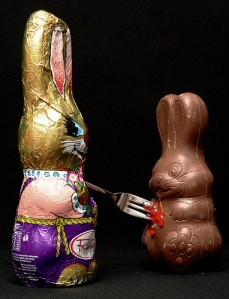 Chocolate Easter Bunnies Stabbing Fork Fake Blood Evil